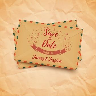 Réservez la date de mariage belle carte décorative avec des enveloppes vintage,
