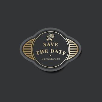 Réservez l'étiquette de vignette vintage d'invitation de mariage de date
