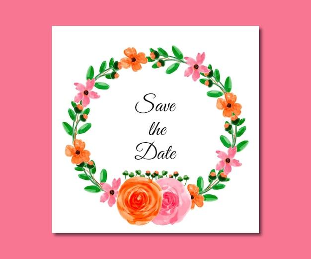 Réservez les fleurs roses bleues aquarelles de date