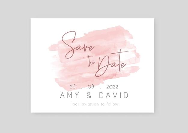 Réservez l'invitation de date avec un dessin à l'aquarelle peint à la main
