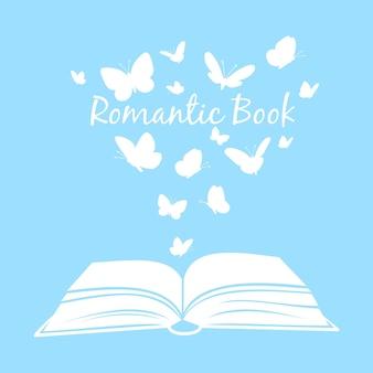 Réservez avec des papillons. manuel ouvert avec des silhouettes de papillons au-dessus des pages isolées