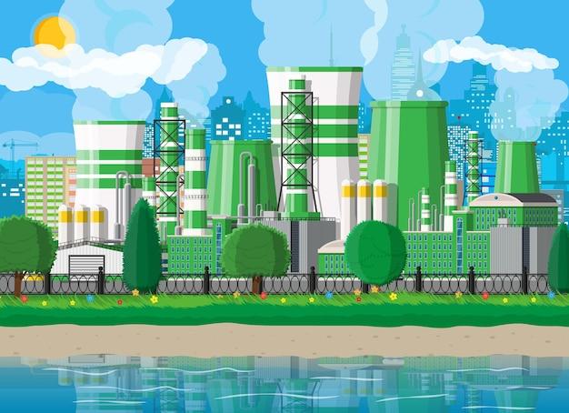 Réservoir d'eau de skyline de paysage urbain urbain
