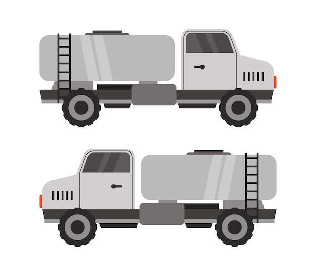 Réservoir de lait sur camion blanc sur blanc