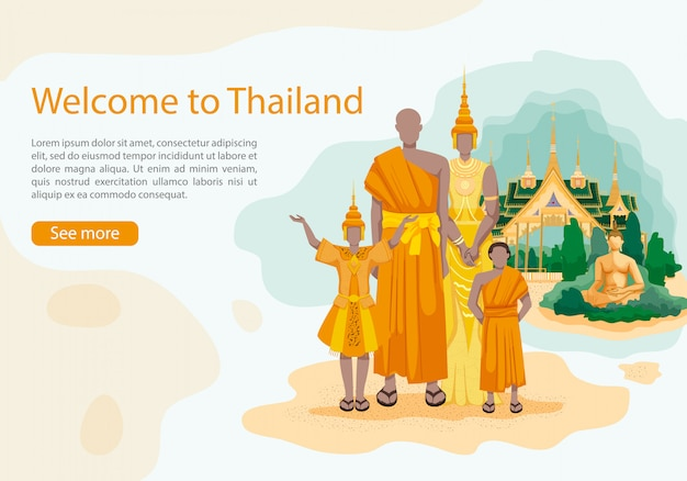 Résidents thaïlande sur bouddha et palais