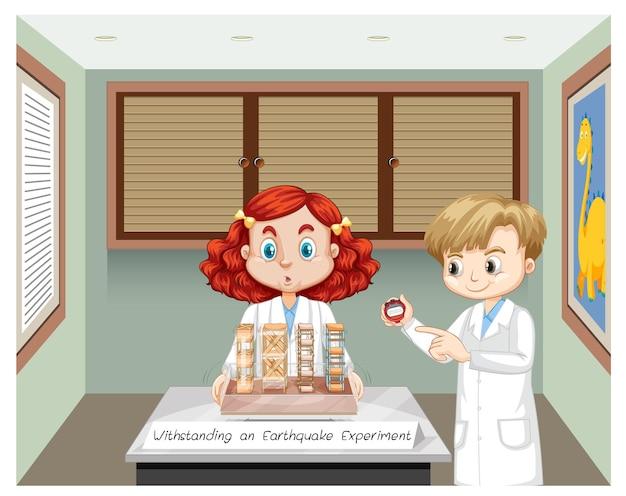 Résister à l'expérience du tremblement de terre avec un personnage de dessin animé pour enfants scientifiques