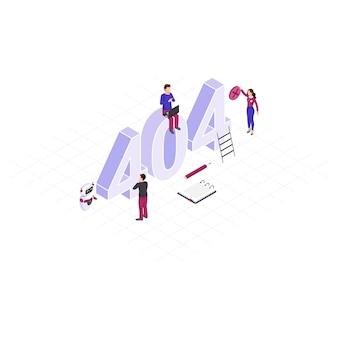 Résolution de l'illustration isométrique du concept de problème 404. petits spécialistes informatiques réparant un serveur déconnecté. robot, assistant ia aidant à corriger les dysfonctionnements techniques. détection automatisée des erreurs de réseau