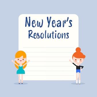 Résolutions du nouvel an. caricature d'enfants gais avec illustration de tableau blanc vierge dans un style design plat.