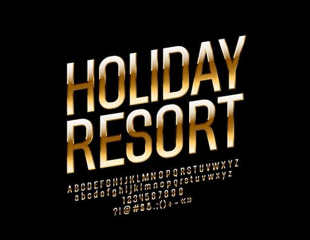 Resort de luxe avec logo. police d'or chic. rotation des lettres de l'alphabet, des chiffres et des symboles exclusifs