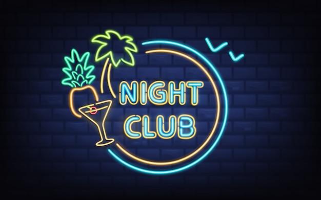Resort night club, enseigne rétro de bar à cocktails de plage avec palmier, noix de coco