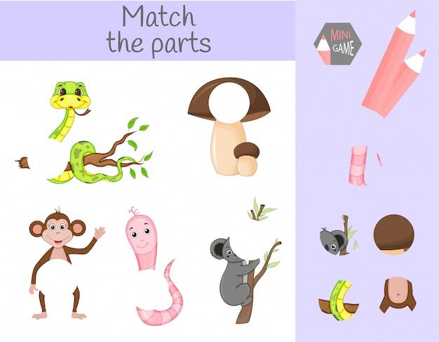 Respect du jeu éducatif pour enfants. faites correspondre les parties d'animaux. trouvez les énigmes manquantes