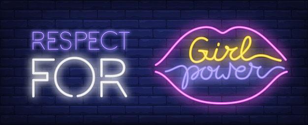 Respect pour le signe au néon de puissance de la fille. silhouette colorée d'inscription et de lèvres sur le mur de briques.