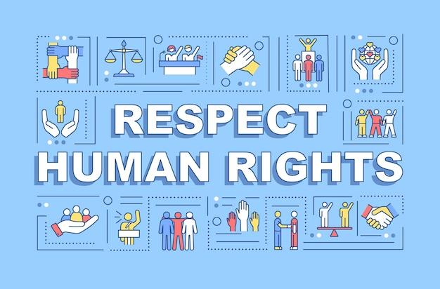 Respectez la bannière des concepts de mot des droits de l'homme. égalité sociale.