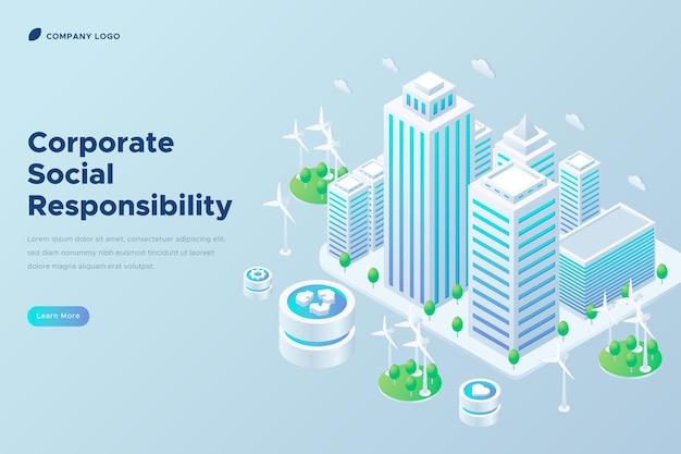 Responsabilité sociale d'entreprise isométrique