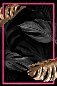Ressource de conception de cadre de feuilles de monstera rouge néon