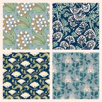 Ressource de conception de collection de motifs vectoriels fleur art nouveau