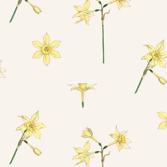 Ressource de conception de vecteur de motif de fleur de jonquille vintage