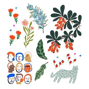 Ressource graphique de motifs d'icônes d'illustration colorée de style mignon et pop art de vecteur