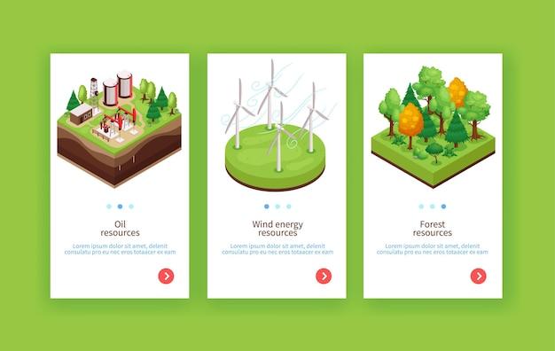 Ressources durables de l'environnement naturel 3 bannières web verticales avec fond vert bois énergie éolienne pétrolière