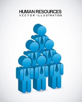 Ressources humaines au cours de l'illustration vectorielle fond gris
