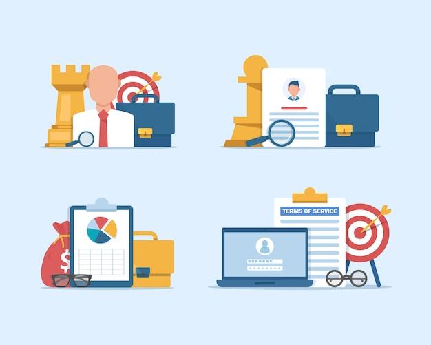 Ressources humaines, concept de recrutement pour une page web, embauche d'employés, agence de recrutement