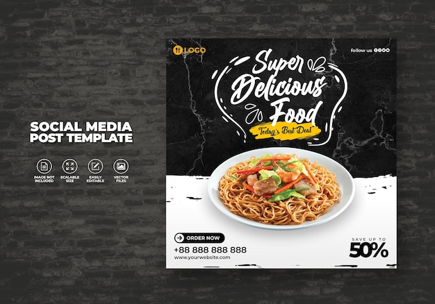 Restaurant alimentaire pour les médias sociaux menu spaghetti noodle promotion template spécial gratuit