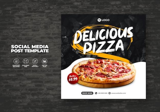 Restaurant alimentaire pour les médias sociaux modèle de menu pizza délicieux spécial promo gratuit