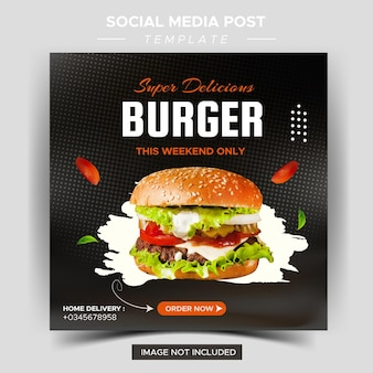 Restaurant alimentaire pour modèle de médias sociaux promo spéciale menu de délicieux hamburgers frais