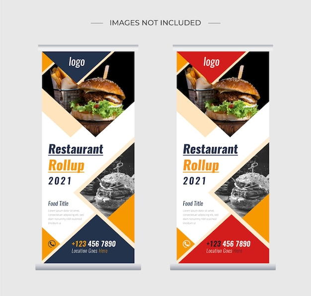 Restaurant alimentaire roll up stand conception de modèle de bannière