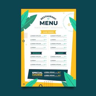 Restaurant d'aliments sains de style menu
