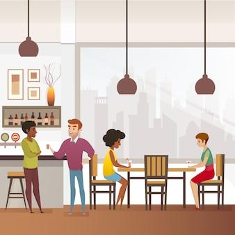 Restaurant, bar ou pub plein de clients vecteur plat