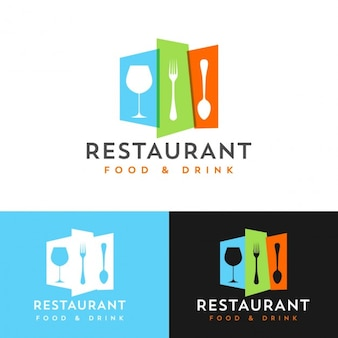 Restaurant coloré modèle de conception de logo