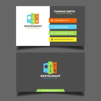 Restaurant colorful carte de visite