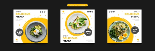 Restaurant délicieux menu promotion des médias sociaux et ensemble de modèles de conception de poste de bannière
