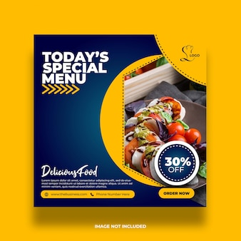 Restaurant délicieux menu spécial médias sociaux colorés poster modèle premium abstrait minimal