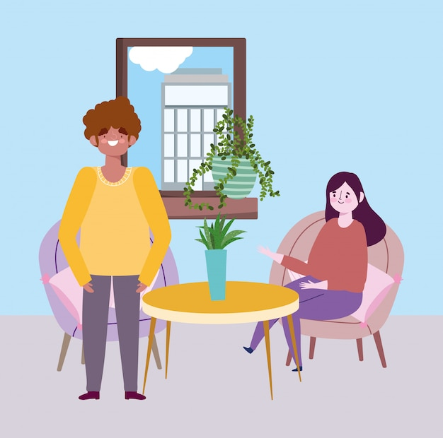 Restaurant à distance sociale ou café, femme et homme gardent leurs distances