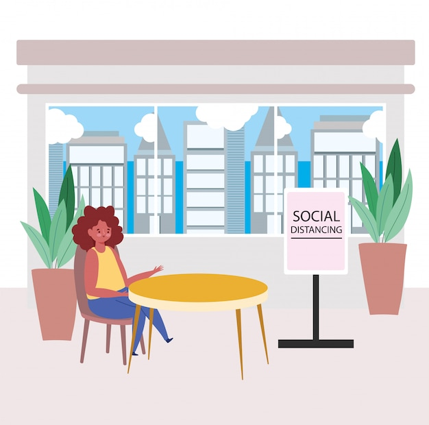 Restaurant distance sociale, femme s'asseoir à distance, prévention des coronavirus