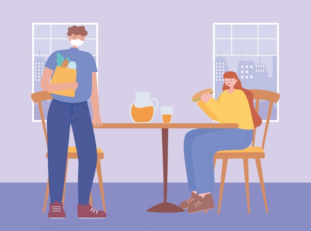 Restaurant distance sociale, homme et femme mesures préventives mesures pour vous protéger, personnes avec masque médical, coronavirus