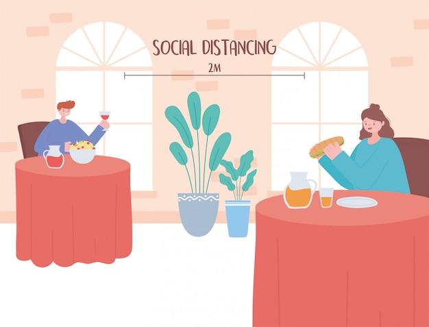 Restaurant distanciation sociale, couple ayant des rencontres manger garder la distance, prévention des infections à coronavirus