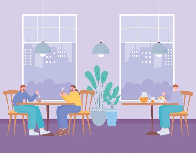 Restaurant distanciation sociale, les gens assis dans le restaurant manger dans la table, la prévention des infections à coronavirus