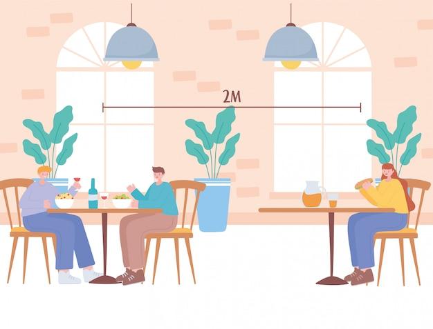 Restaurant distanciation sociale, les gens sont assis à distance dans les tables, prévention des infections à coronavirus