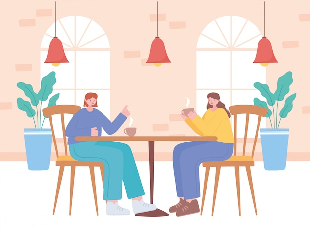 Restaurant distanciation sociale, personnes buvant du café dans le restaurant pendant la quarantaine, prévention des infections à coronavirus
