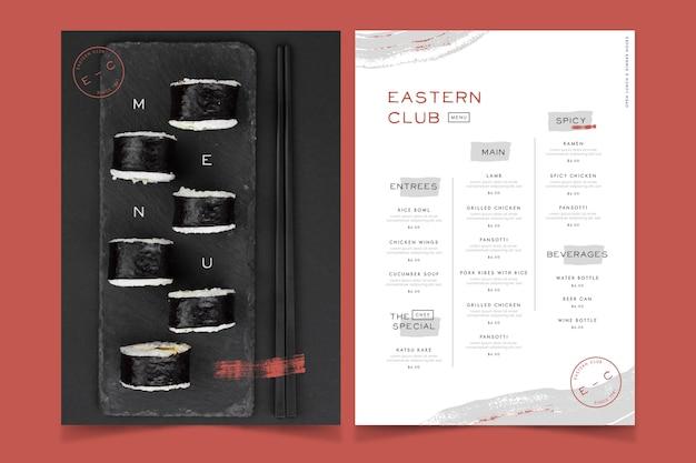 Restaurant eastern club food menu style vintage