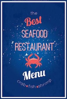 Restaurant de fruits de mer délicieux menu publicitaire design de pancarte avec crépuscule appétissant de crevettes affiche abstrait illustration vectorielle