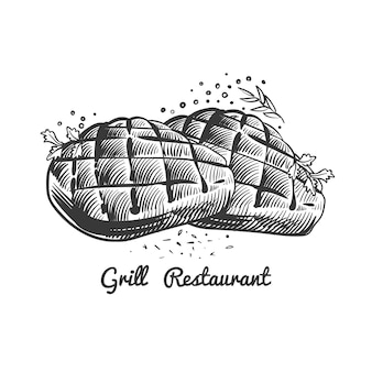 Restaurant grill, illustration de steak house avec des steaks dessinés à la main et épicé