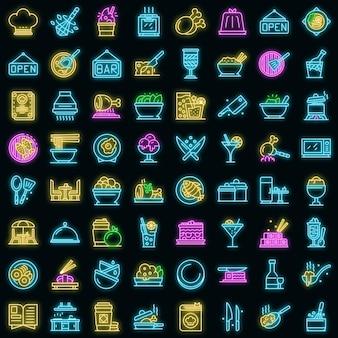 Restaurant icons set vector néon