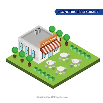 Restaurant isométrique avec terrasse et arbres
