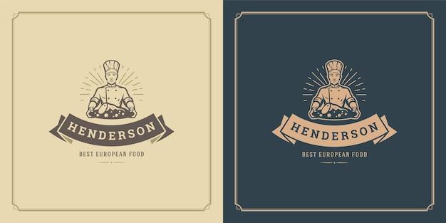 Restaurant logo design illustration chef homme tenant plat silhouette