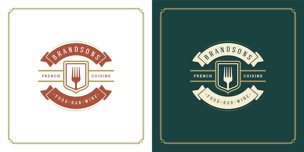 Restaurant logo design illustration fourche silhouette