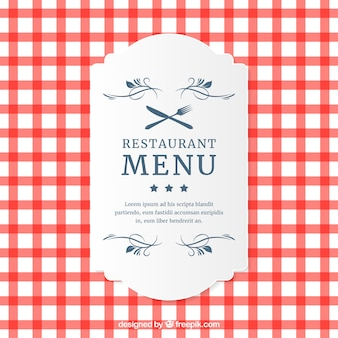 Restaurant menu plaid carte