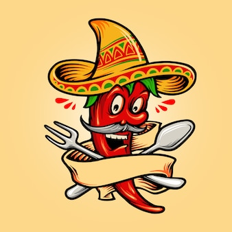 Restaurant mexicain red hot chili pepper mascotte